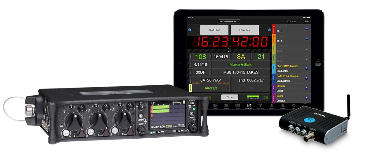 Sound Devices 633 Timecode wave and MovieSlate 1